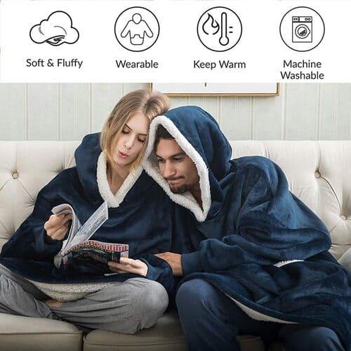 IvyH Übergroße Hoodie Decke Sweatshirt, SuperWeiche Warme Riesen Hoodie Fronttasche Giant Plüsch Pullover Decke mit Kapuze Einheitsgröße für Männer Frauen Mädchen Jungen Unisex